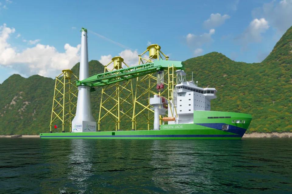 Huisman crane for CSBC-DEME's new installation vessel Green Jade