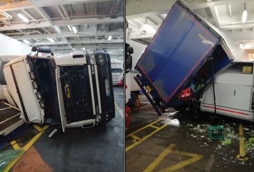 RoRo vessel rolls heavily and tips trucks