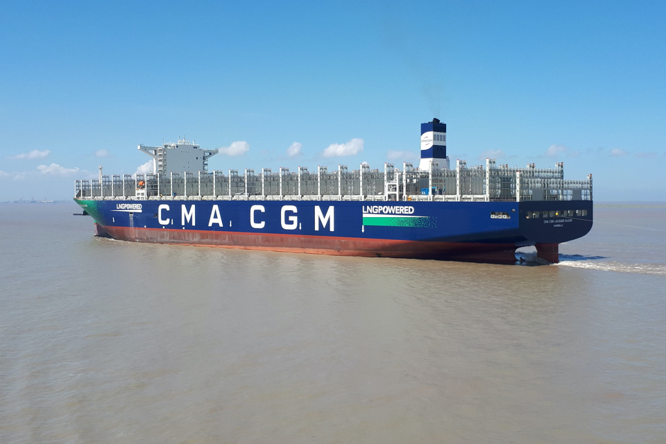 CMA CGM's first 23,000 TEU LNG container ship en route to Rotterdam
