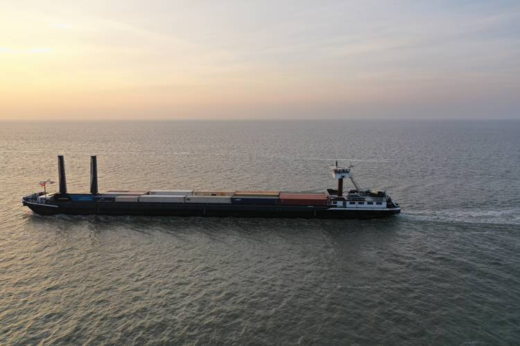 TMA trials wind assisted propulsion on inland container ship