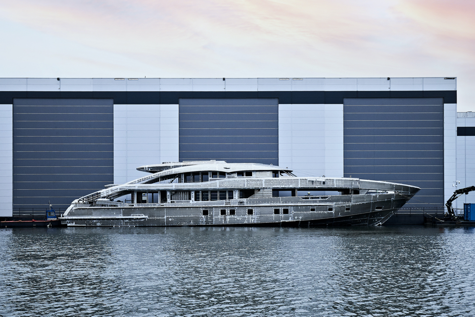 Heesen joins hull and superstructure of 50-metre yacht Project Sapphire