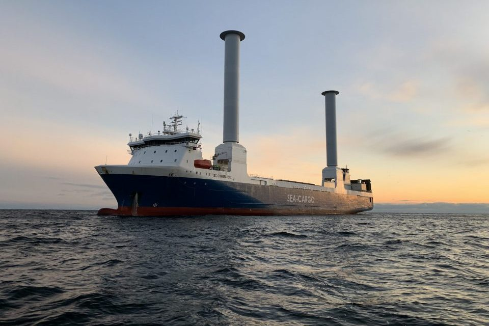 Modern sailing cargo ship SC Connector expected in Rotterdam