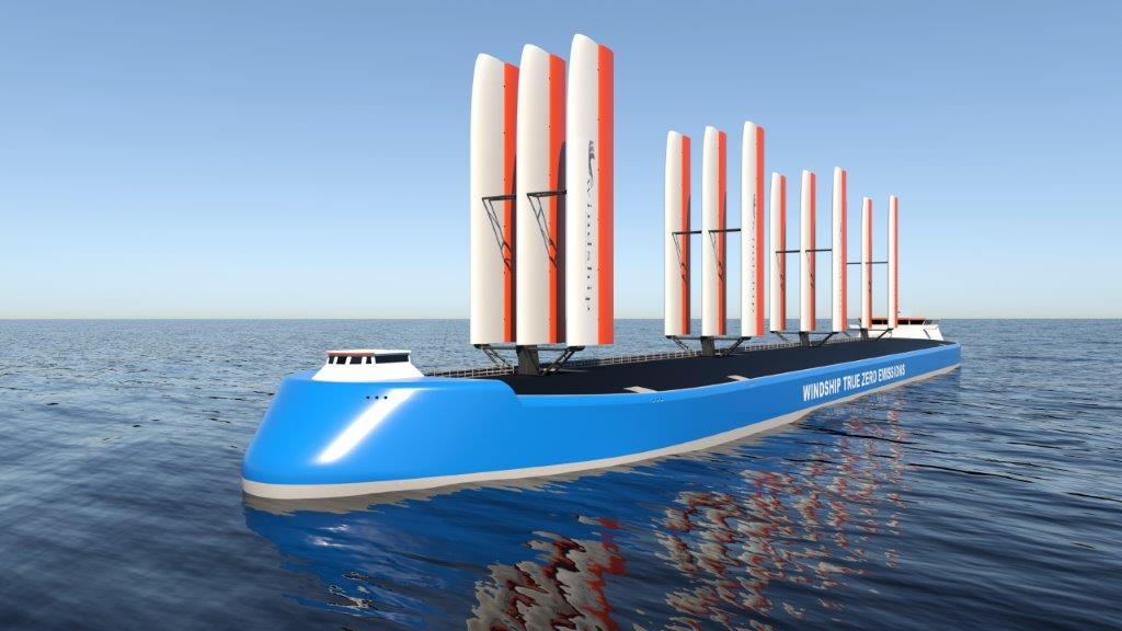 Windship's 'Tesla of the seas' with triple-wing rig achieves zero emission
