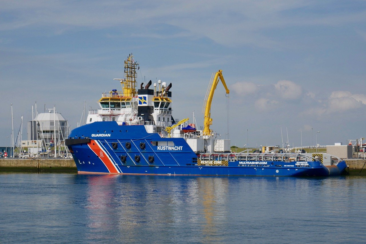 Netherlands Coast Guard tows container ship on the North Sea to safety