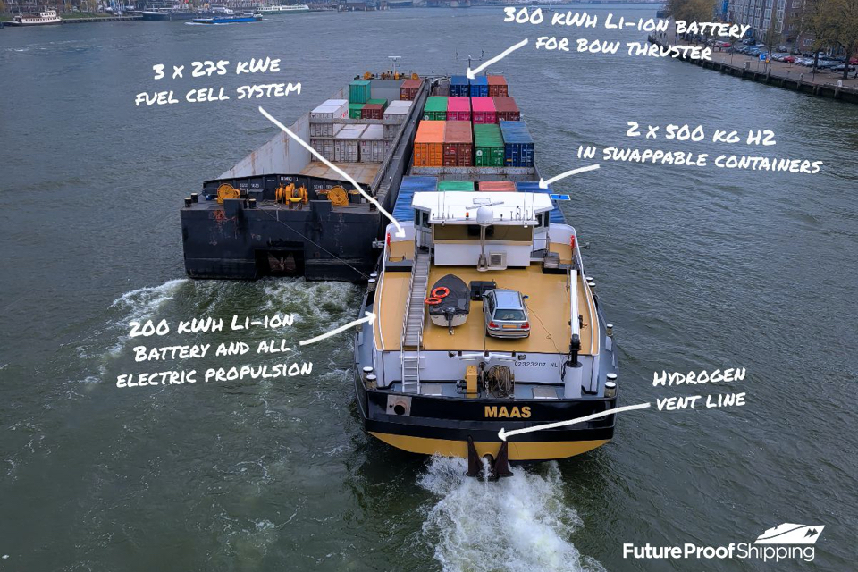 Inland vessel Maas to be powered by hydrogen fuel cell system