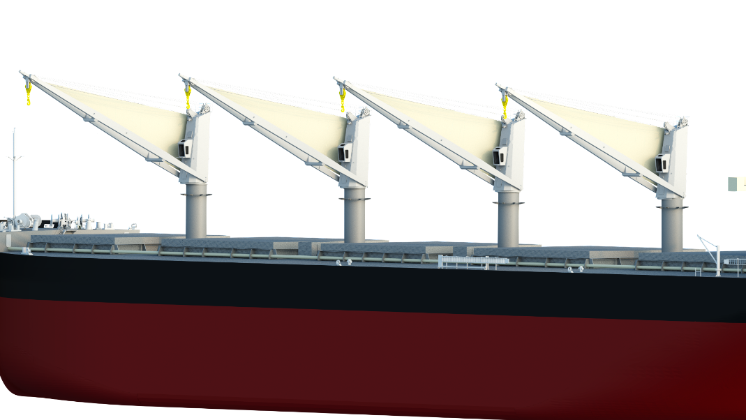 MOL develops sail to be mounted on ships' cargo cranes