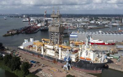 Allseas' deepsea mining vessel is undergoing repairs and maintenance in Schiedam